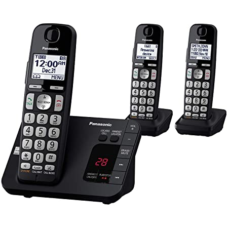 Panasonic Dect 6.0 Expandable Cordless Phone System With Answering Machine And Call Blocking   3 Handsets   Kx Tge433 B (Black) by Panasonic