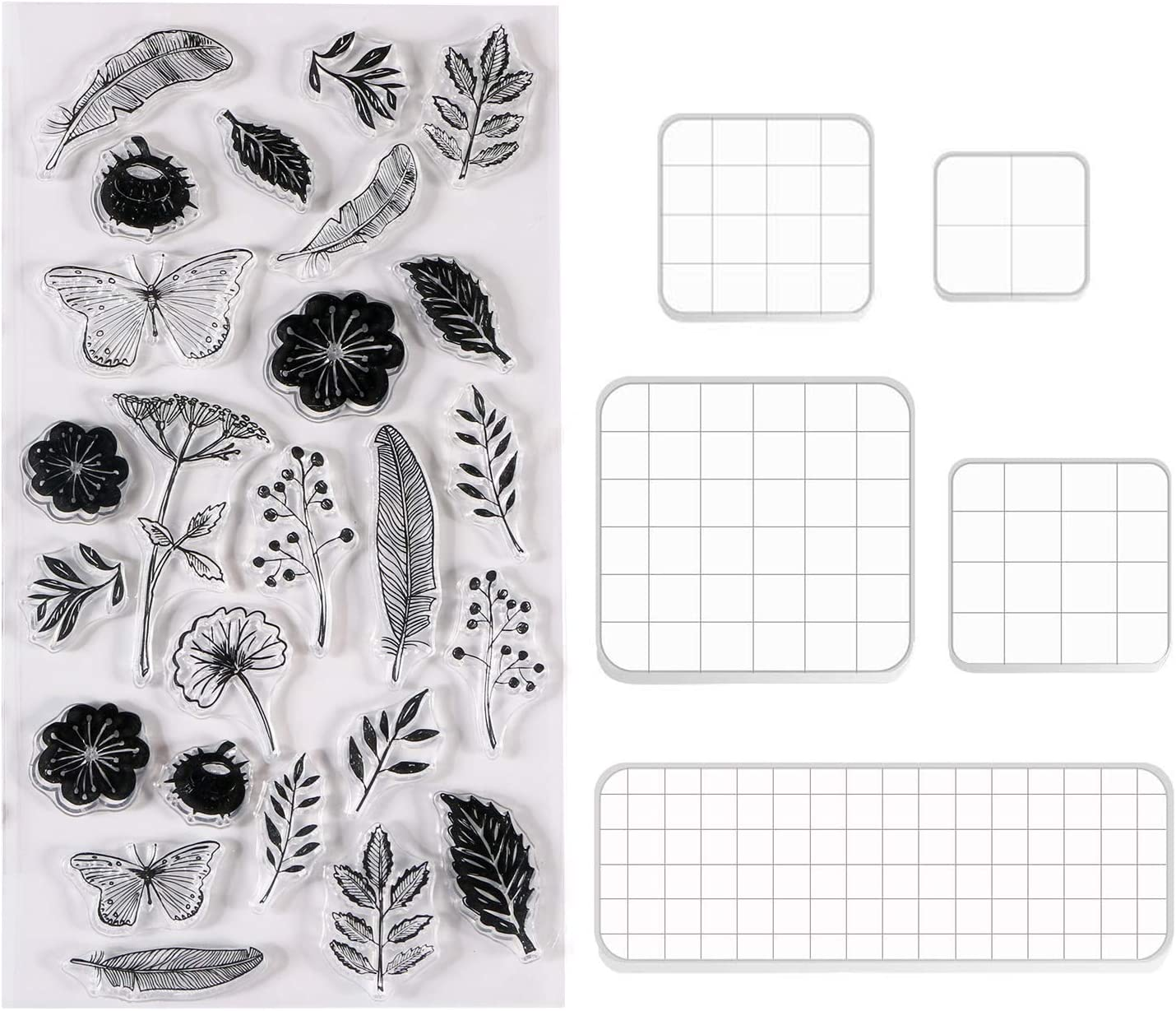 Kesoto Stamp Block 3pcs Acrylic Clear Stamp Set with Clear Grid Lines Assorted Sizes Stamp Blocks for Scrapbooking Card Making DIY Craft Project