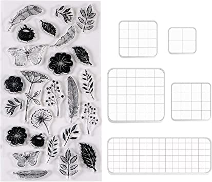 8 Sheets Mix Theme Silicone Transparent Clear Stamps Butterfly Flower Love Heart Friendly Phrases Stamps for Card Making Decoration and Scrapbooking