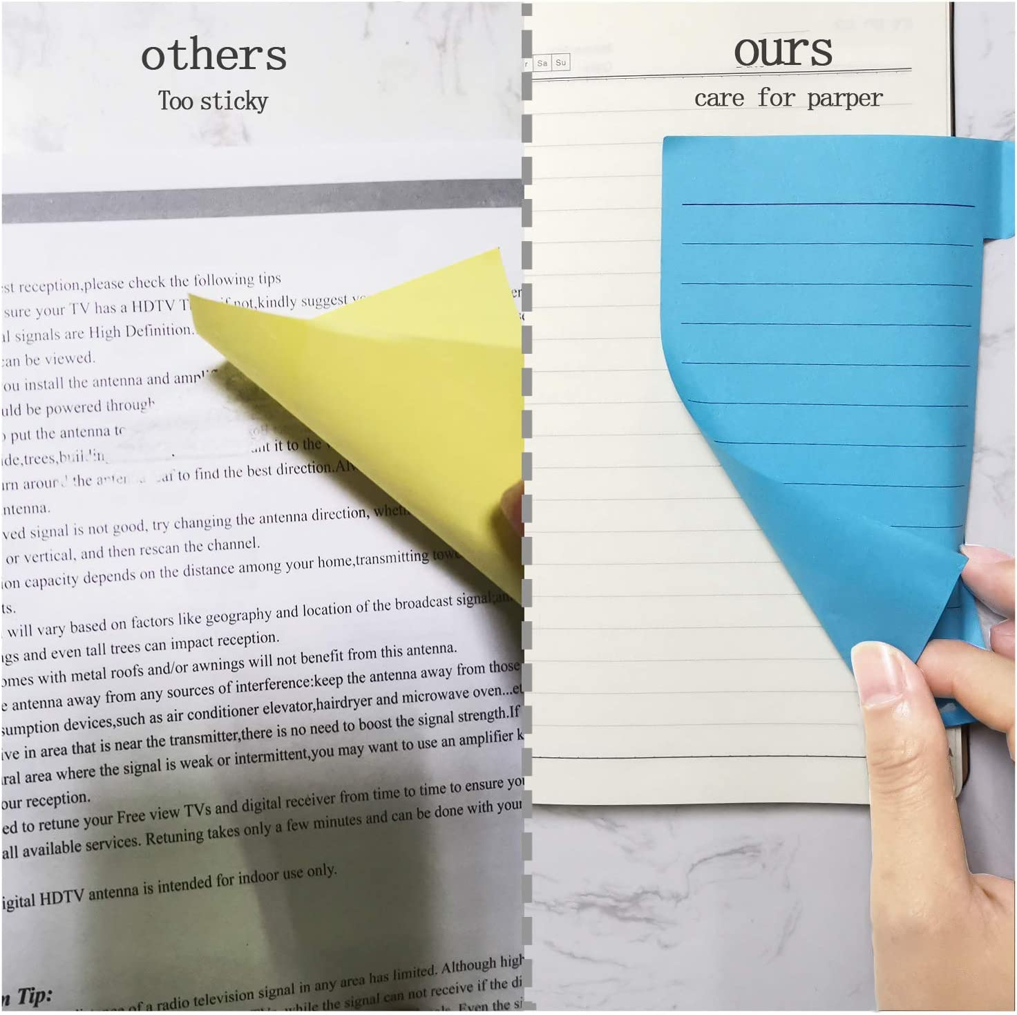 Divider Sticky Notes Self-Stick Lined Note Pads 60 Ruled 40 Blank 40 Dotted 4x6 4x3 Self-Stick Pads 4x2.6