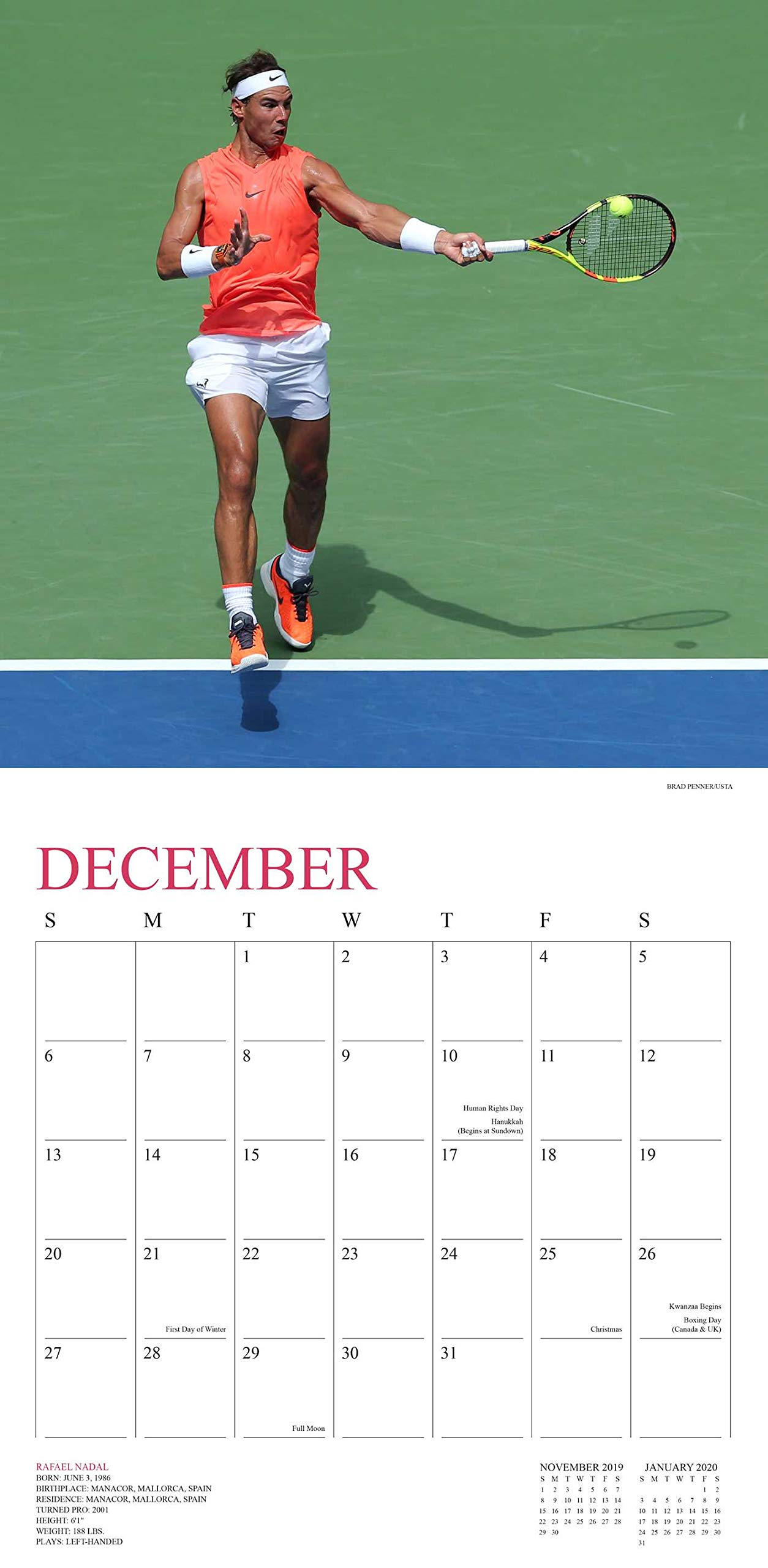Tennis 2020 Wall Calendar: The Official U.S. Open Calendar: United