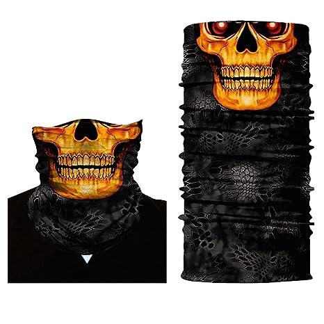 37ad2196e390 ShopINess Cache-Cou Bandana Multifonctions - Crâne tête de Mort (Feu ...