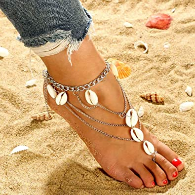 Yalice Boho Conch Shell Anklet Ring Silver Barefoot Sandals Ankle Bracelet Beach Foot Chain for Women and Girls