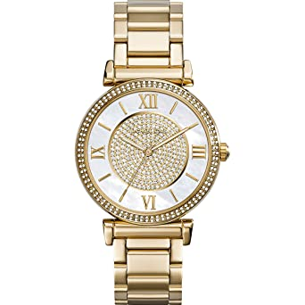afe6a0e62404 Image Unavailable. Image not available for. Color  Michael Kors Catlin  Mother of Pearl Dial Gold Tone SS Quartz Ladies Watch MK3332