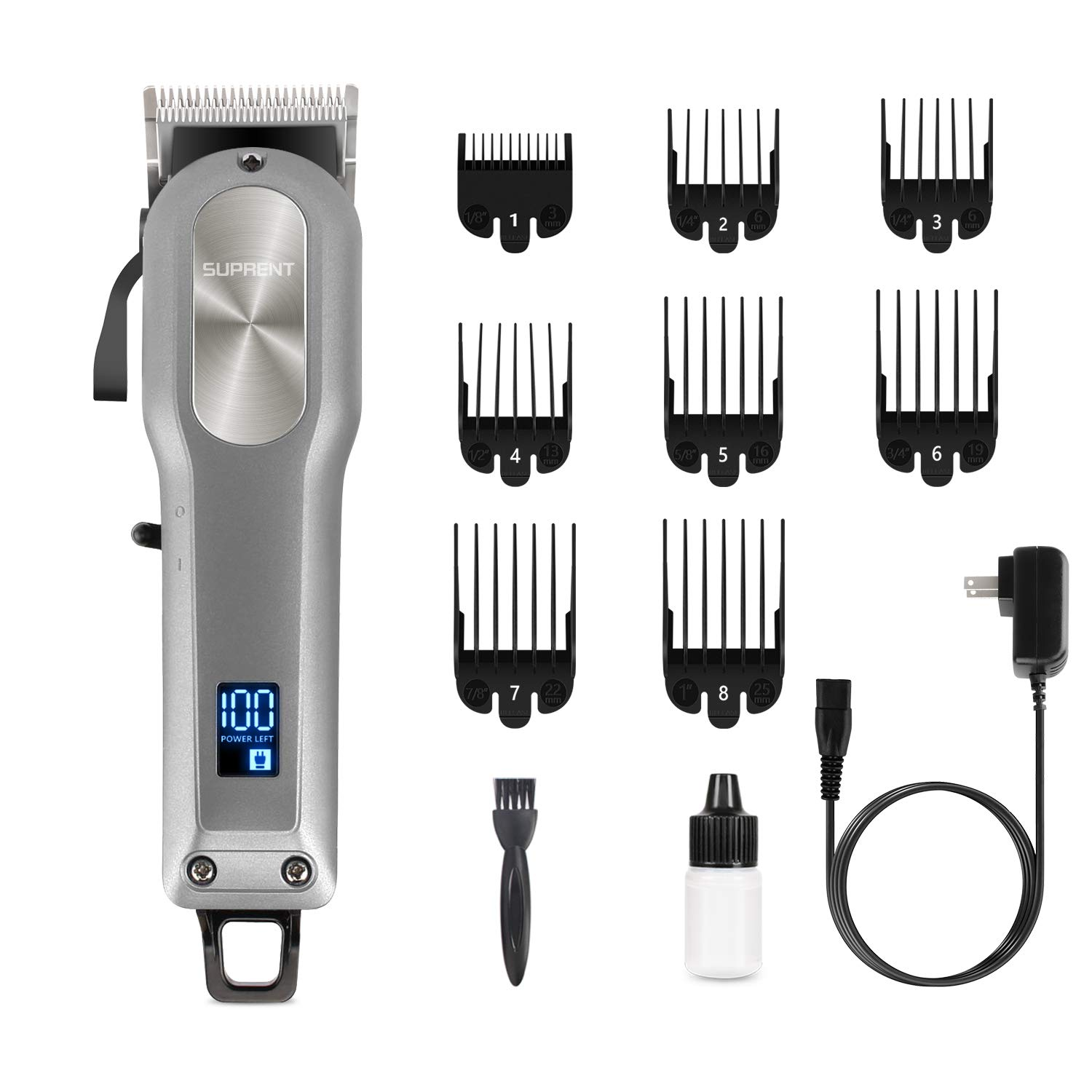 Cordless Hair Clippers for Men SUPRENT, Professional Hair Cutting Kit with 2000mAh Lithium Ion, Stainless steel Blade, Hair Trimmer with Lock-In Length (Silver): Beauty