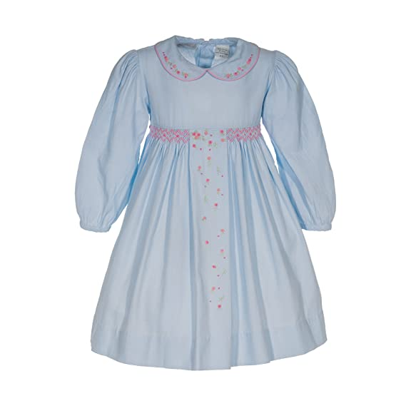 1930s Childrens Fashion: Girls, Boys, Toddler, Baby Costumes Girls Long Sleeve Blue Flower Dress $60.00 AT vintagedancer.com