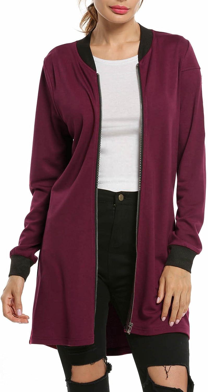 Hotouch Womens Classic Long Sleeve Zipper Bomber Jacket Baseball Long Jacket Tunic Sweatshirt
