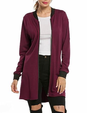 c7da15a46c5 Amazon.com: Hotouch Women's Classic Long Sleeve Zipper Bomber Jacket ...