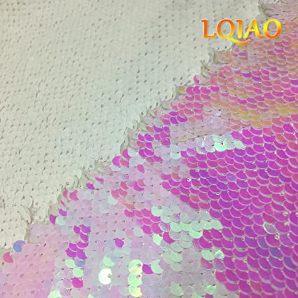 912504bb7040f3 Image Unavailable. Image not available for. Color  LQING 1 Yard Changed  White Reversible Sequin Fabric ...