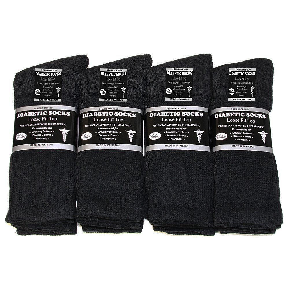 3 6 or 12 Pairs Diabetic Socks Unisex 9-11, 10-13, 13-15 Black Grey White