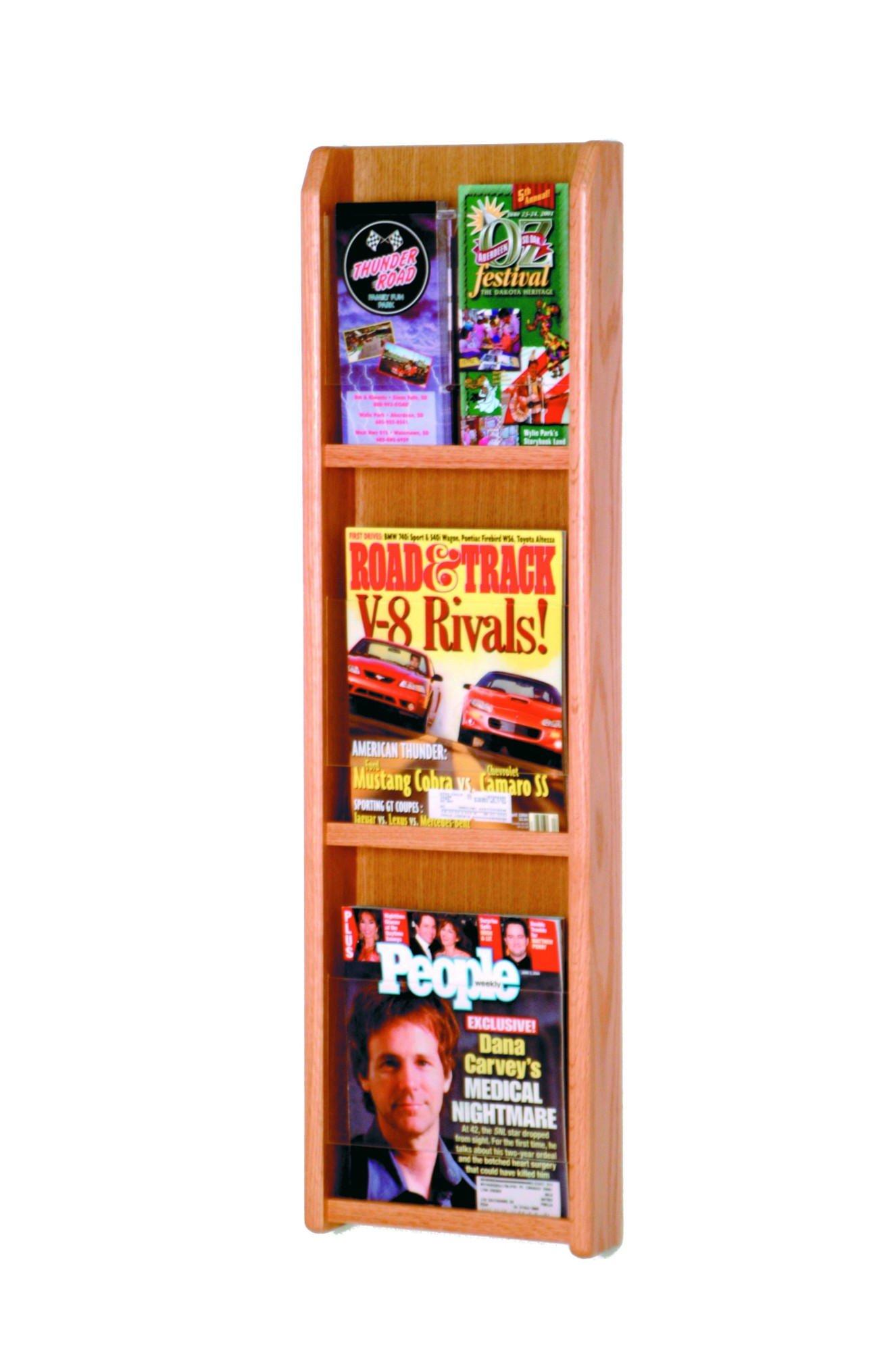 Wooden Mallet 3-Magazine/6-Brochure Divulge Wall Display with Brochure Inserts, Light Oak