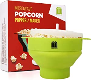 MUGOOLER Microwave Popcorn Popper Silicone Popcorn Maker Collapsible Bowl BPA Free (Green)