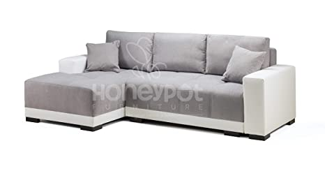 Superb Honeypot Cimiano Corner Sofa Bed Faux Leather Fabric White Grey Left Hand Pdpeps Interior Chair Design Pdpepsorg