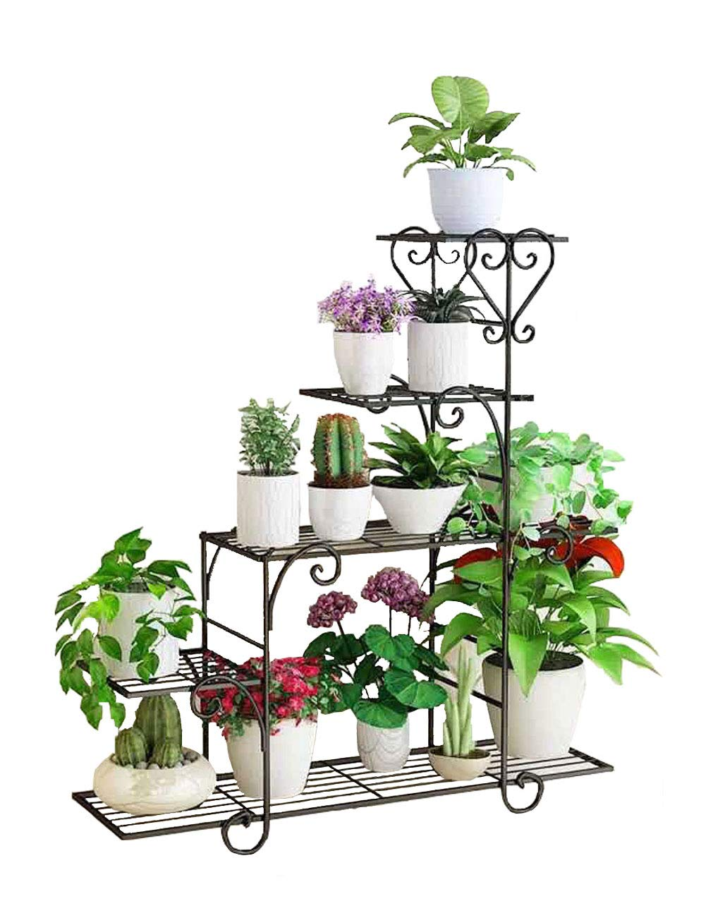 5層の金属製のフラワースタンド、棚の花、リビングルームのバルコニーの鉢植えの植物、錬鉄製のさび止めの植物のスタンド、ポットラック(色:黒、サイズ:L88cm W25cm H95cm) B07SFCZ7GF