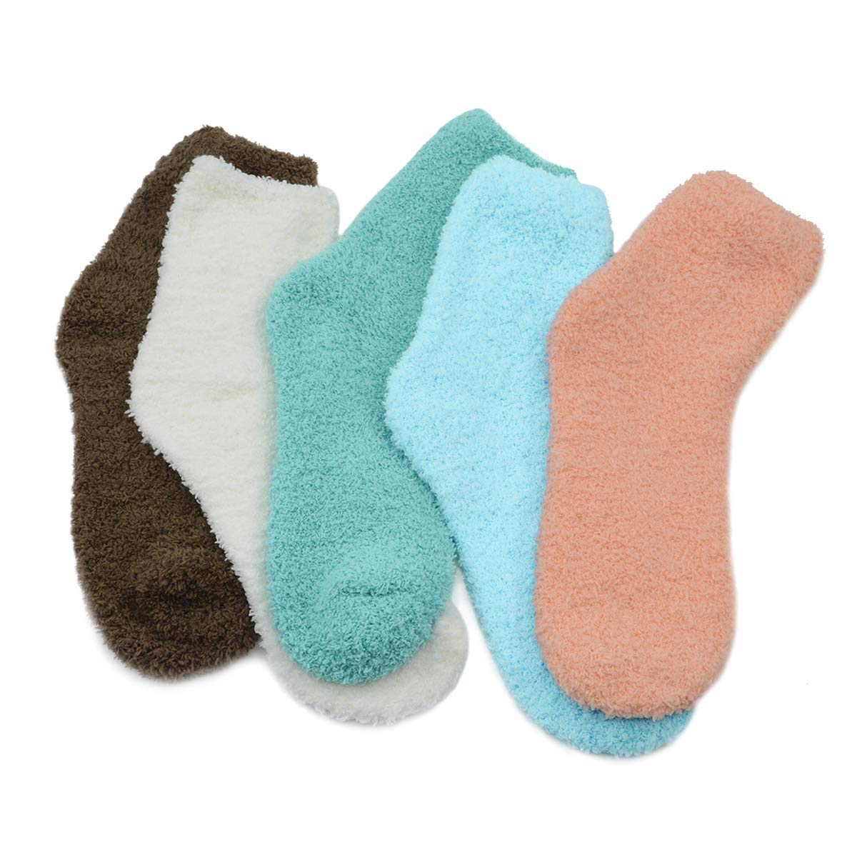 Fuzzy Warm Slipper Socks Women Super Soft Microfiber Cozy Sleeping Socks 6 or 5 Pairs Azue SOC10022AUUS