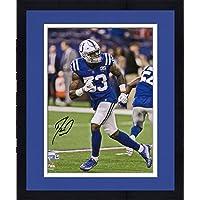 "$104 » Framed Darius Leonard Indianapolis Colts Autographed 8"" x 10"" Backpeddle Photograph - Autographed NFL Photos"