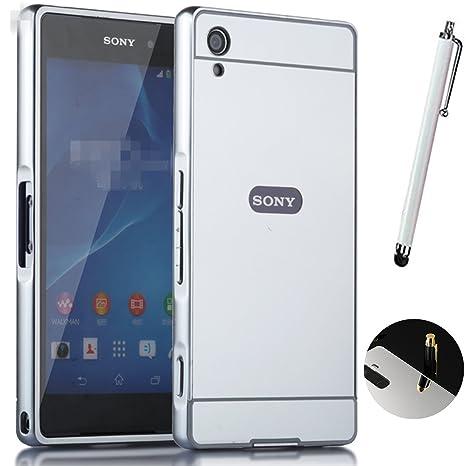 Funda Espejo Aluminio Metal Carcasa para Sony Xperia Z2 Color Plata