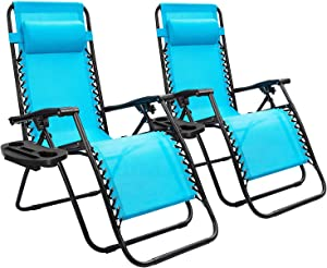 Devoko Patio Zero Gravity Chair Outdoor Folding Adjustable Reclining Chairs Pool Side Using Lawn Lounge Chair with Pillow Set of 2 (Blue)