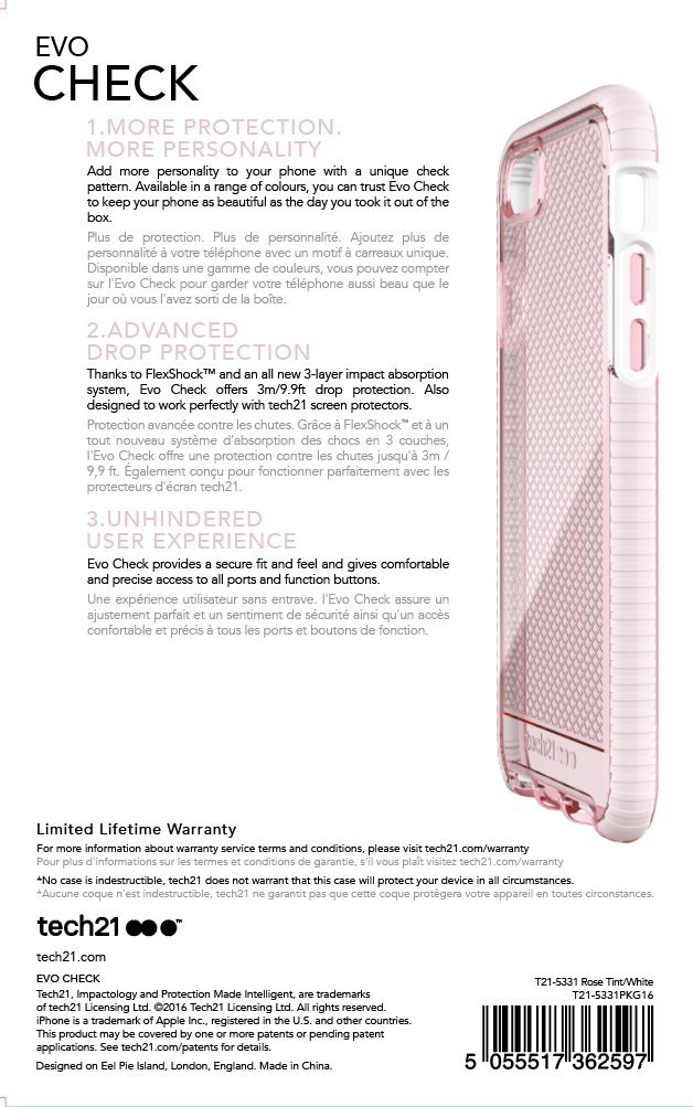 Tech21 Evo Check for iPhone 7 - Light Rose/White