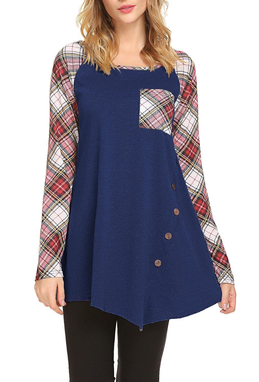4ec7763b70 JQstar Women s Raglan Plaid Long Sleeve Flowy Swing Tunic Tops Shirt with  Buttons M-3XL at Amazon Women s Clothing store