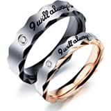 "Fate Love 2pcs Romantic ""I will always be with you"" Couples Promise Engagement Wedding Ring Set/ Ring Necklace A Pair for Lover"