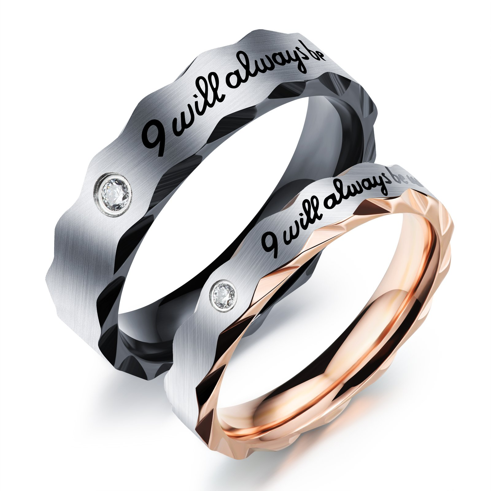 Fate Love 2pcs Romantic ''I will always be with you'' Couples Promise Engagement Wedding Ring Set/ Ring Necklace A Pair for Lover