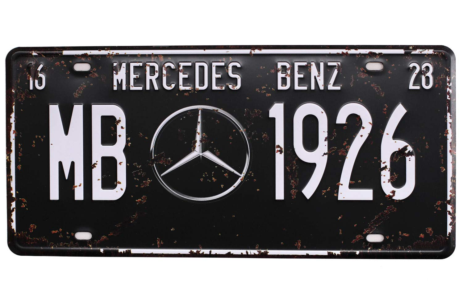 Metal Tin Sign MERCEOES BENZ MB 1926 Vintage Auto License Plate Embossed Tag Size 6 X 12