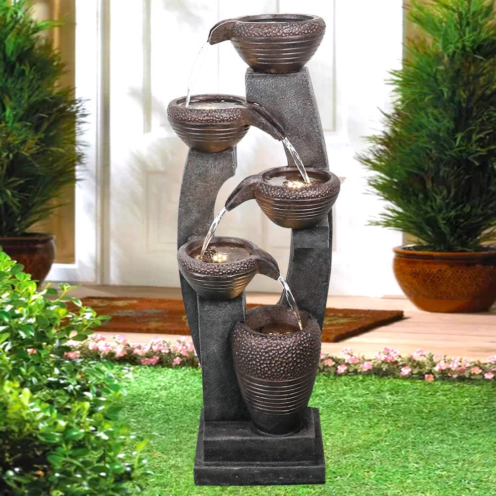 Amazon Com Bbabe 5 Tier Bowls Outdoor Water Fountain 39 Inches Modern Resin Floor Standing Fountain With Led Illuminated Waterfall For Patio Garden Yard Garden Outdoor