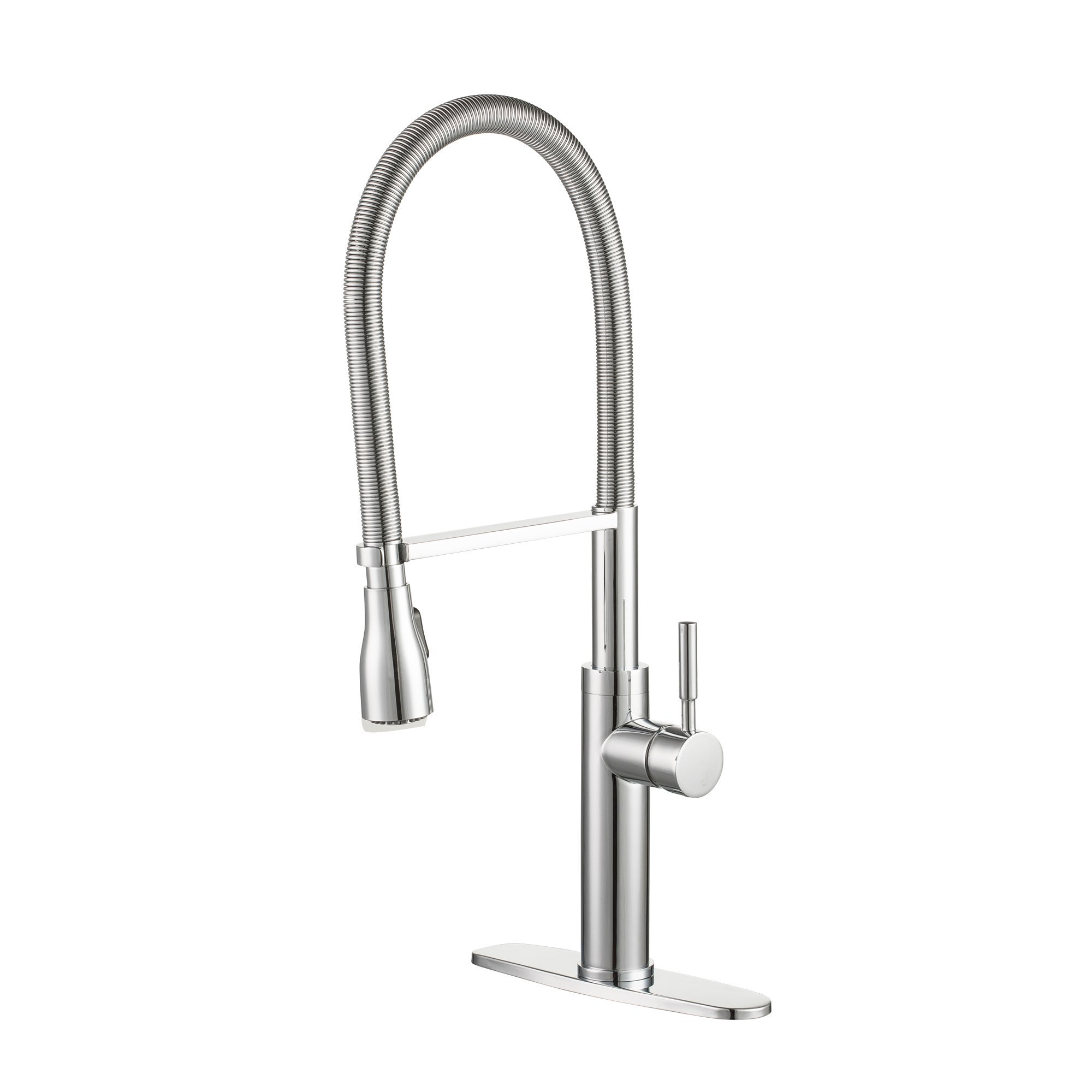 Enzo Rodi Modern Spring Commercial High-arc Lead-free Brass Pull-down Kitchen Sink Faucet with Pull-out Sprayer, Chrome, ERF7356390CP-10