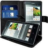 kwmobile Wallet Case Hülle für Huawei Ascend G700 - Cover Flip Tasche mit Kartenfach und Ständerfunktion in Schwarz