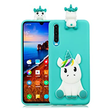 CoverTpu Funda Huawei P30 Silicona Unicornio Verde 3D Gel ...