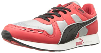 PUMA Men's Rs100 AW Classic Sneaker,Limestone Grey/High Risk Red/Black,