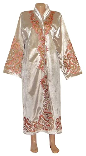 9b265f3e2a6 Amazon.com: UZBEK TRADITIONAL BUKHARA ROBE JACKET COAT UNISEX SILK GOLD  EMBROIDERED A10607: Handmade