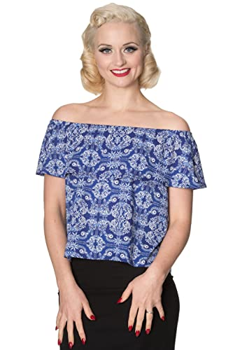 Banned Apparel Top con Hombros Descubiertos Off Shoulder Retro Vintage 50's TP1177
