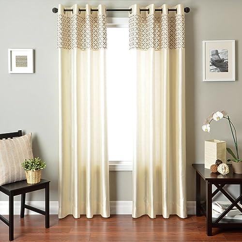 Softline Home Fashions Vernetti Faux Silk Window Treatment Curtain Panel Drape, Champagne, 55 x 84