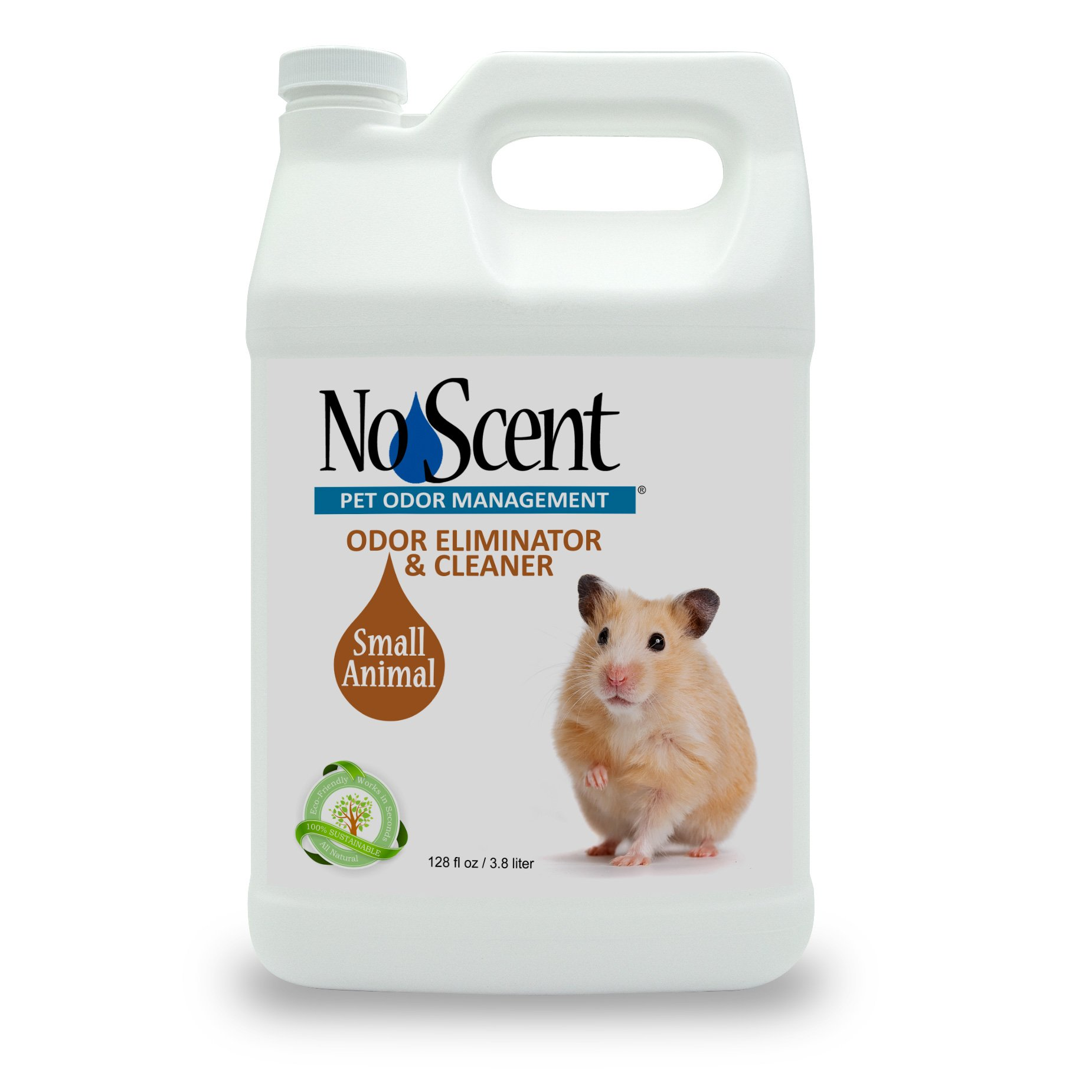 No Scent Small Animal - Professional Pet Waste Odor Eliminator & Cleaner - Safe All Natural Probiotic & Enzyme Formula Smell Remover for Hutches Tanks Enclosures Bedding Toys and Surfaces (1 gal) by No Scent Pet Odor Management