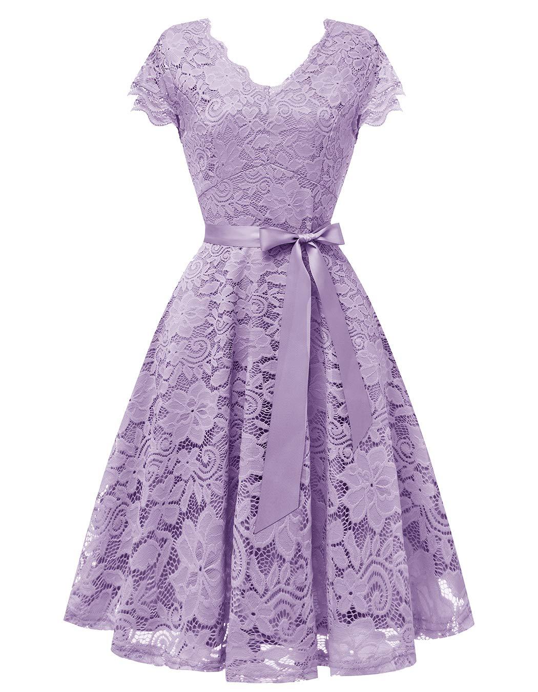 Vinvv Womens Short Vintage Lace Dress Cap Sleeve Bridesmaid Party Swing Dress Lavender M