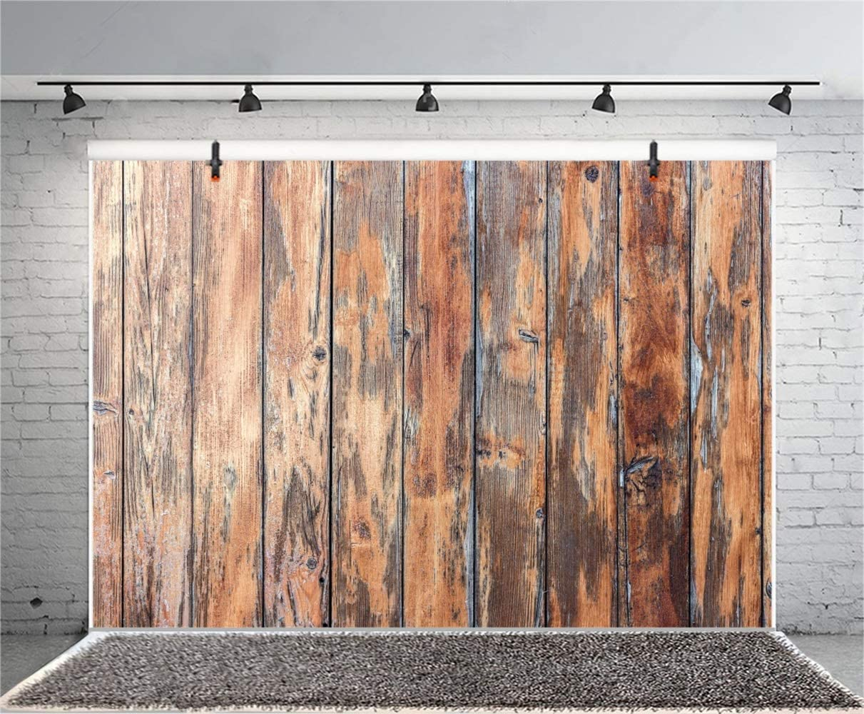 Grunge Old Wood Plank Vinyl Photography Backdrops 10x7ft Weathered Rustic Wooden Board Background Countryside Shabby Vertical Striped Wooden Wall Backdrops Personal Portraits Shooting