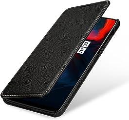 StilGut Housse OnePlus 6 Book Type en Cuir à Ouverture latérale avec Fonction Mise en Veille Automatique, Noir