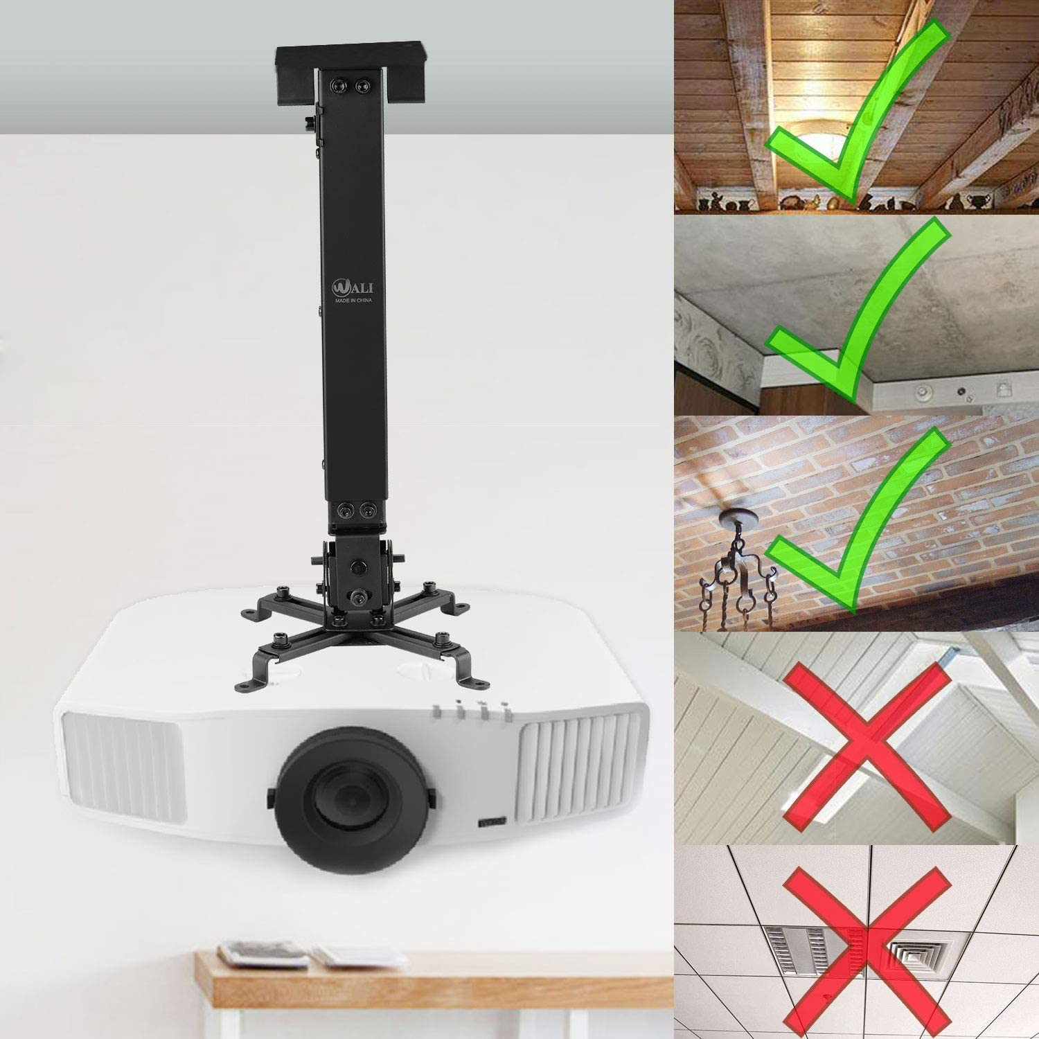 Free Shipping WALI WL-PM-001-BLK Universal Projector Flat Ceiling Mount with ..