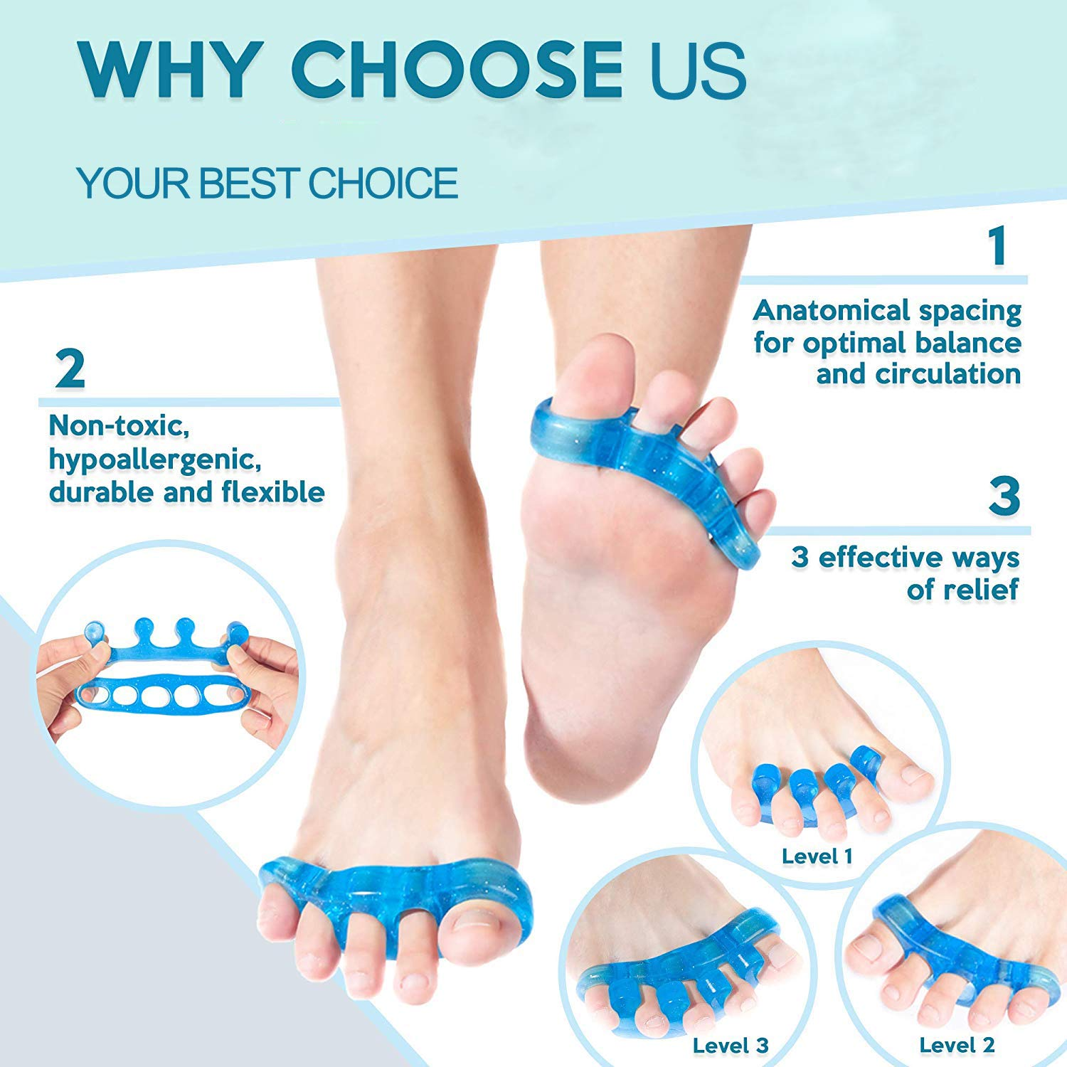 Premium Gel Toe Separators, Spacers & Straighteners | Bunion Corrector Relief on Hammor Toe For America\'s Choice | Use for Pedicure, Yoga & Running