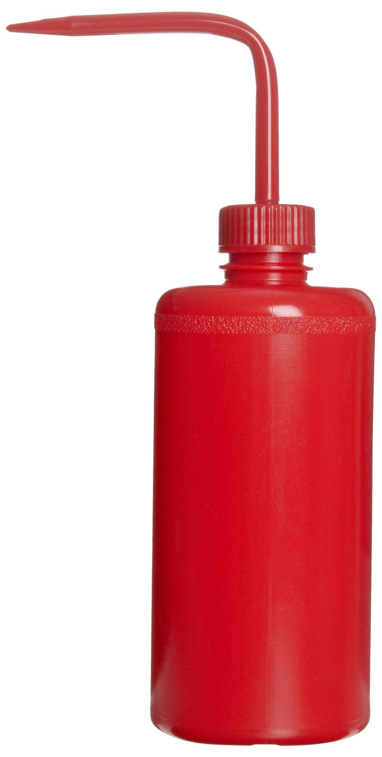 Bel-Art Red 500ml (16oz) Polyethylene Wash Bottles; Polypropylene Cap, 28mm Closure (Pack of 6) (F11650-0016)