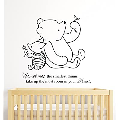 Winnie The Pooh Wall Decal Quote Sometimes The Smallest Things Take up The Most Room in Our Heart Nursery Decor Art Kids Room: Home & Kitchen