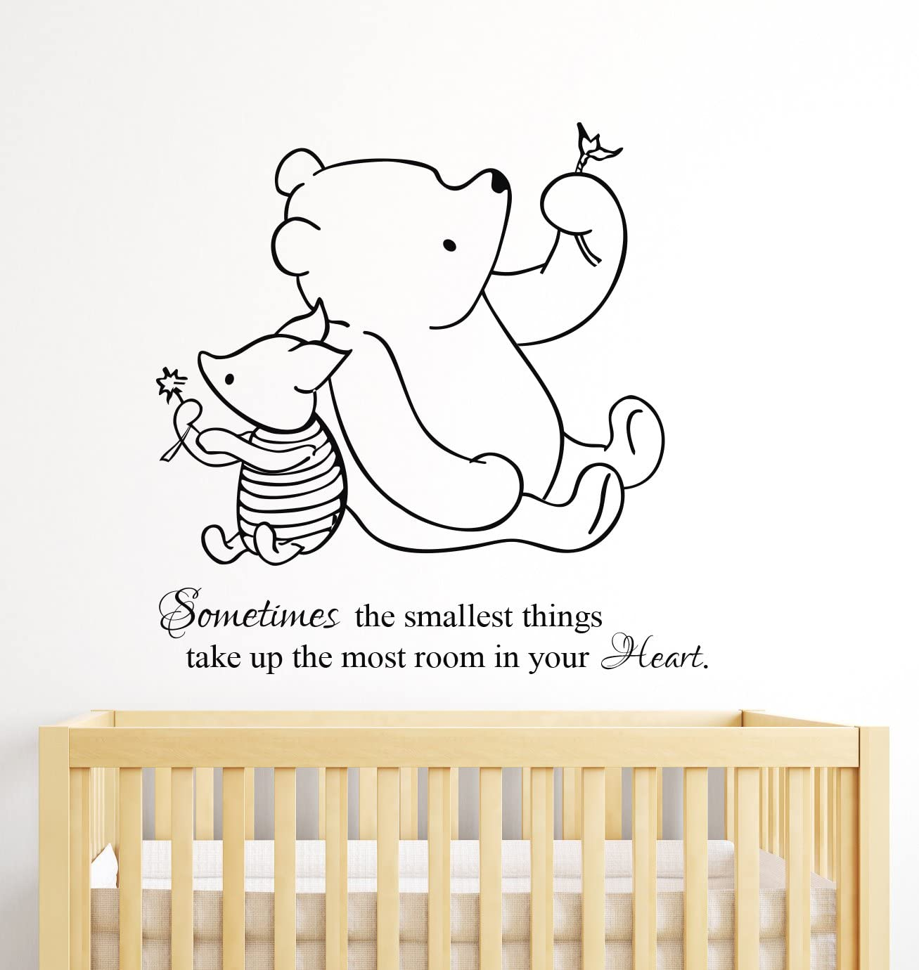 Winnie The Pooh Wall Decal Quote Sometimes The Smallest Things Take up The Most Room in Our Heart Nursery Decor Art Kids Room