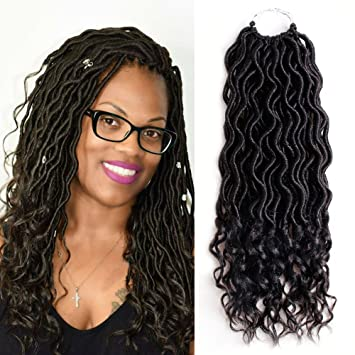 Amazoncom 6 Packs Goddess Locs Crochet Hair Wavy Curly Faux Locs