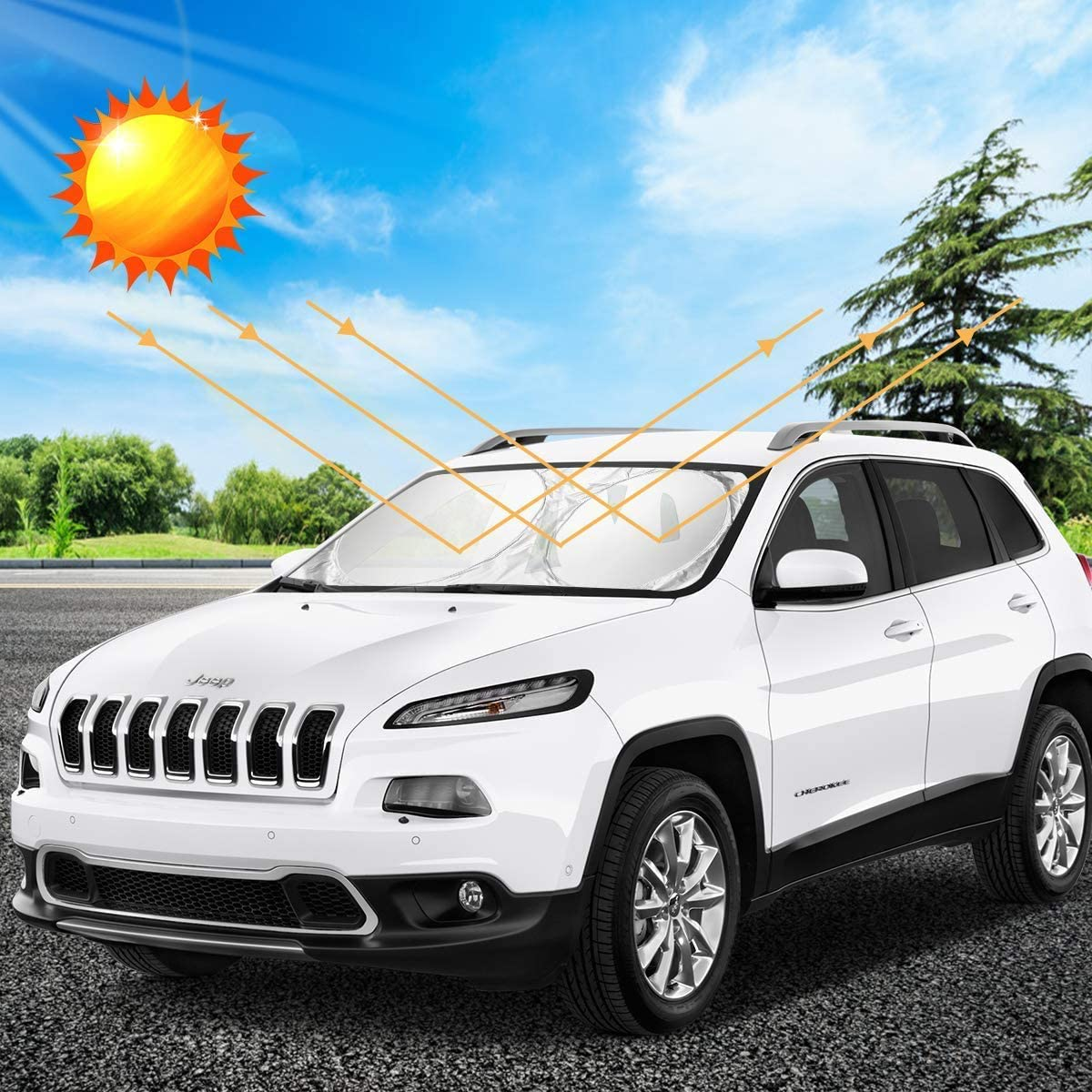 Windshield Sun Shade for SUVs Large 63x33.8 in 210T Reflective Polyester Blocks Heat and Sun Trucks and Vans Foldable Sun Shield That Keeps Your Vehicle Cool