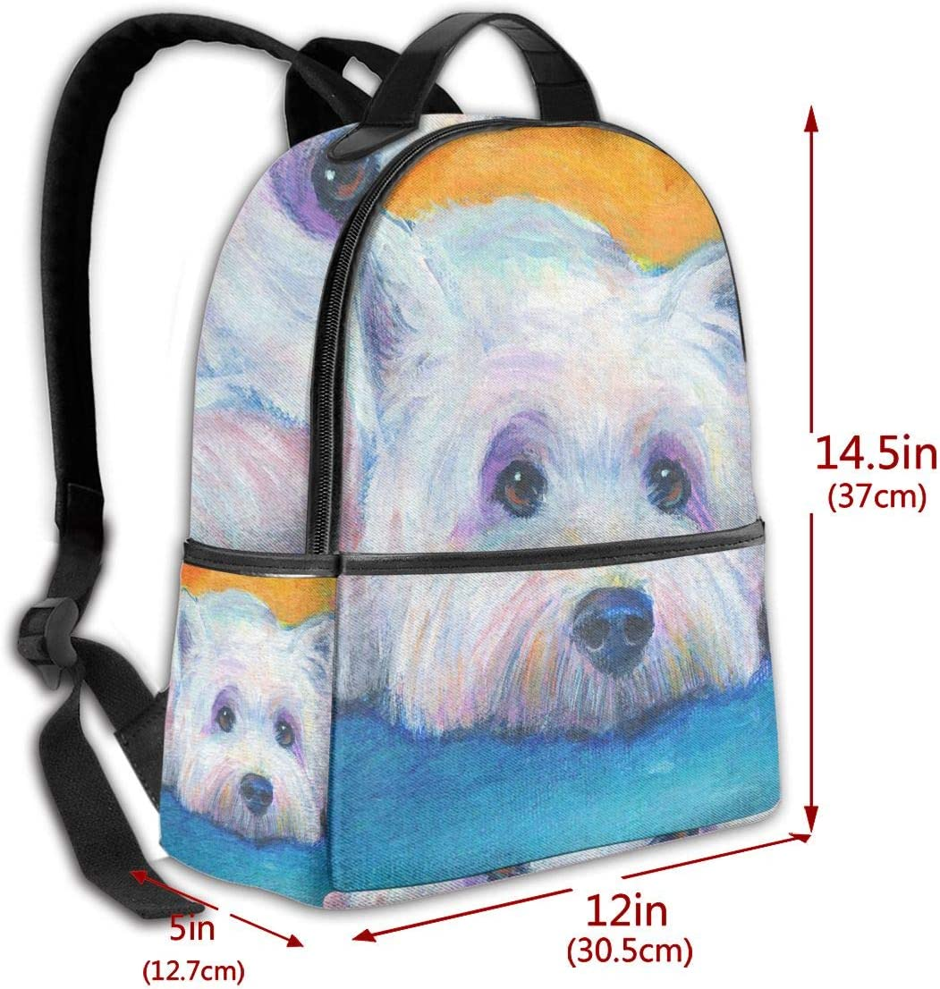 Funny Dog West Highland White Terrier Multi-Functional College Bags Students High School Girls Casual Daypack Kids Travel Backpack School Laptop Bookbags Teens Boy Outdoor Accessories