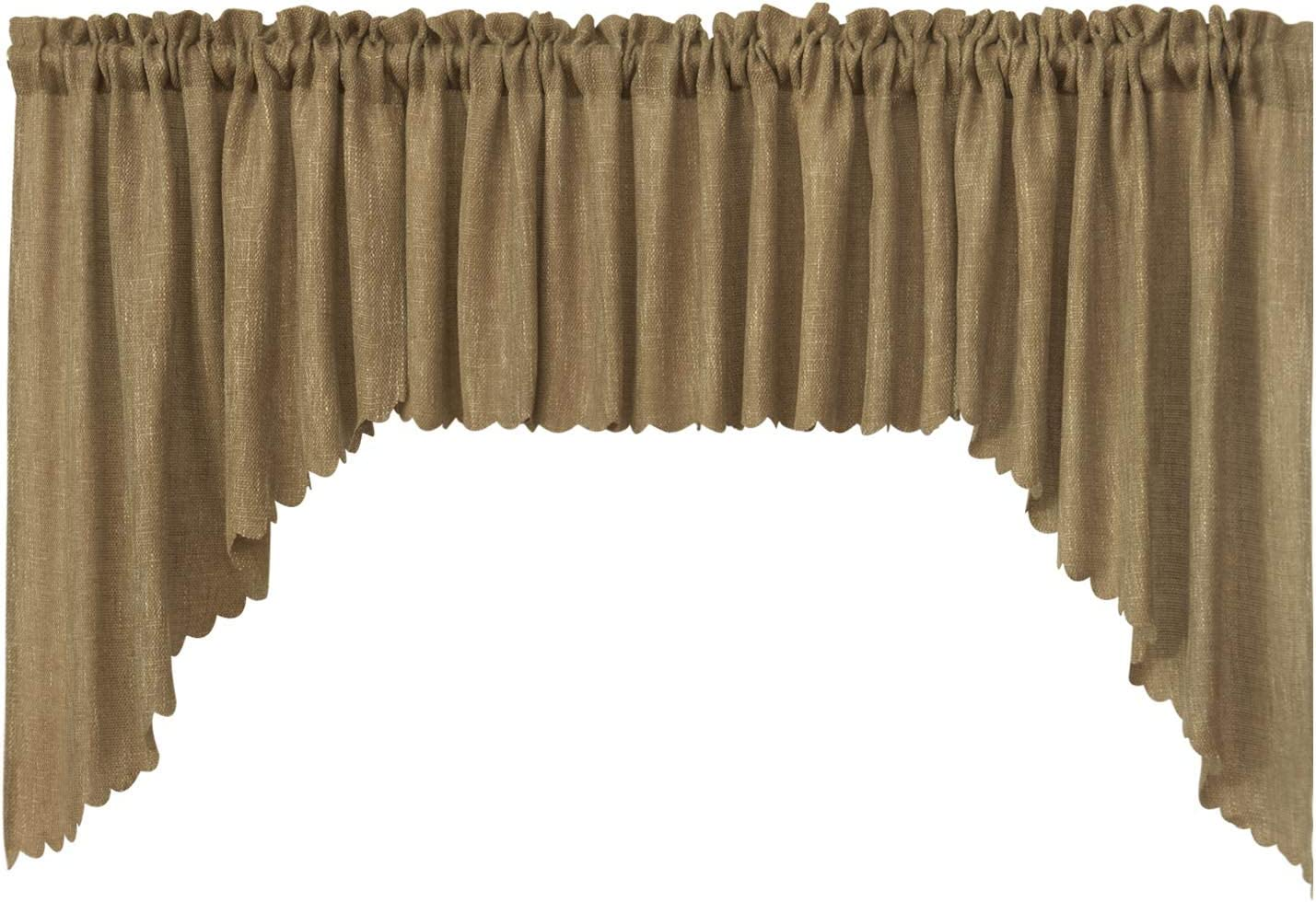 VORTTA Burlap Look Soft Valance and Swag Curtains Set Rustic and Natural Kitchen Curtains, 36 inches Length