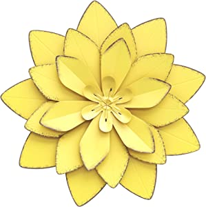 Wexbi Metal Flower Wall Sculpture - Flower Metal Wall Art Decor – Indoor and Outdoor Metal Wall Art Flower - Metal Wall Flowers for Decoration – Decorative Metal Flower Wall Decor (Yellow)