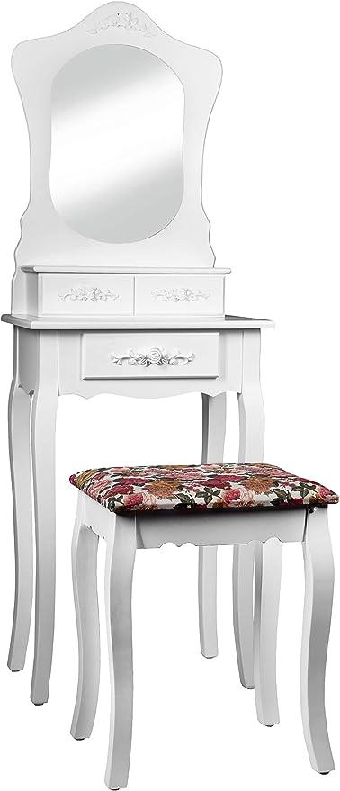 Intirilife Tocador 135x50x30 cm in Blanco Rosa – Mesa de ...